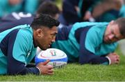 20 February 2019; Bundee Aki during Ireland Rugby squad training at Carton House in Maynooth, Kildare. Photo by Brendan Moran/Sportsfile