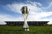 20 February 2019; The UEFA U17 European Championships trophy at the launch of the UEFA U17 European Championships Mascot at Tallaght Stadium in Dublin. Photo by Stephen McCarthy/Sportsfile