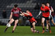 20 February 2019; Ryan Coleman of St Mary's in action against Cian Kiely of UCC during the Electric Ireland HE GAA Sigerson Cup Final match between St Mary's University College Belfast and University College Cork at O'Moore Park in Portlaoise, Laois. Photo by Piaras Ó Mídheach/Sportsfile