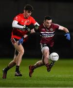 20 February 2019; Niall Toner of St Mary's in action against David Shaw of UCC during the Electric Ireland HE GAA Sigerson Cup Final match between St Mary's University College Belfast and University College Cork at O'Moore Park in Portlaoise, Laois. Photo by Piaras Ó Mídheach/Sportsfile