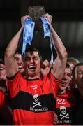20 February 2019; UCC captain Cian Kiely lifts the cup after the Electric Ireland HE GAA Sigerson Cup Final match between St Mary's University College Belfast and University College Cork at O'Moore Park in Portlaoise, Laois. Photo by Piaras Ó Mídheach/Sportsfile