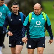 22 February 2019; Rob Kearney, left, and Rory Best arrive for Ireland Rugby squad training at Carton House in Maynooth, Kildare. Photo by Brendan Moran/Sportsfile