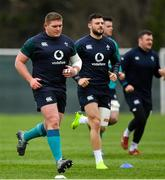 22 February 2019; Tadhg Furlong, left, and Robbie Henshaw during Ireland Rugby squad training at Carton House in Maynooth, Kildare. Photo by Brendan Moran/Sportsfile