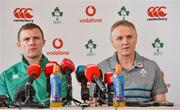 22 February 2019; Ireland head coach Joe Schmidt with Keith Earls during Ireland Rugby press conference at Carton House in Maynooth, Kildare. Photo by Matt Browne/Sportsfile
