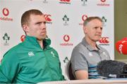22 February 2019; Keith Earls with head coach Joe Schmidt during an Ireland Rugby press conference at Carton House in Maynooth, Kildare. Photo by Matt Browne/Sportsfile