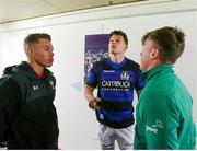 22 February 2019; Ireland captain David Hawkshaw, with Italy captain Davide Ruggeri and referee Craig Evans, during the coin toss prior to the U20 Six Nations Rugby Championship match between Italy and Ireland at Stadio Centro d'Italia in Rieti, Italy. Photo by Daniele Resini/Sportsfile