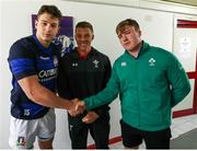 22 February 2019; Ireland captain David Hawkshaw, with Italy captain Davide Ruggeri and referee Craig Evans, following the coin toss prior to the U20 Six Nations Rugby Championship match between Italy and Ireland at Stadio Centro d'Italia in Rieti, Italy. Photo by Daniele Resini/Sportsfile