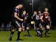 22 February 2019; Dinny Corcoran of Bohemians, left, celebrates after scoring his side's second goal during the SSE Airtricity League Premier Division match between UCD and Bohemians at the UCD Bowl in Dublin. Photo by Harry Murphy/Sportsfile