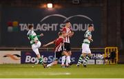 22 February 2019; Dylan Watts of Shamrock Rovers, left, shoots to score his side's first goal during the SSE Airtricity League Premier Division match between Shamrock Rovers and Derry City at Tallaght Stadium in Dublin. Photo by Seb Daly/Sportsfile
