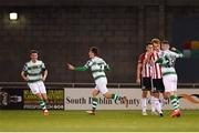 22 February 2019; Dylan Watts of Shamrock Rovers, centre, celebrates after scoring his side's first goal during the SSE Airtricity League Premier Division match between Shamrock Rovers and Derry City at Tallaght Stadium in Dublin. Photo by Seb Daly/Sportsfile
