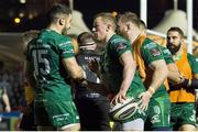 22 February 2019; Stephen Fitzgerald of Connacht celebrates with team-mates after scoring a try during the Guinness PRO14 Round 16 match between Glasgow Warriors and Connacht at Scotstoun Stadium in Glasgow, Scotland. Photo by Ross Parker/Sportsfile