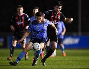 22 February 2019; Dan Tobin of UCD in action against Dinny Corcoran of Bohemians during the SSE Airtricity League Premier Division match between UCD and Bohemians at the UCD Bowl in Dublin. Photo by Harry Murphy/Sportsfile