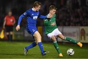 22 February 2019; Darragh Rainsford of Cork City in action against Jonathan Lunney of Waterford during the SSE Airtricity League Premier Division match between Cork City and Waterford at Turners Cross in Cork. Photo by Eóin Noonan/Sportsfile