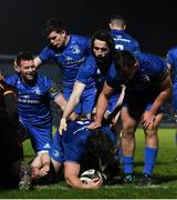 22 February 2019; Andrew Porter of Leinster celebrates with team-mates after scoring his side's sixth tryduring the Guinness PRO14 Round 16 match between Leinster and Southern Kings at the RDS Arena in Dublin. Photo by Ramsey Cardy/Sportsfile