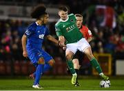 22 February 2019; James Tilley of Cork City in action against Bastien Héry of Waterford during the SSE Airtricity League Premier Division match between Cork City and Waterford at Turners Cross in Cork. Photo by Eóin Noonan/Sportsfile