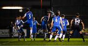 22 February 2019; Brian Gartland, 3, of Dundalk heads his side's first goal during the SSE Airtricity League Premier Division match between Finn Harps and Dundalk at Finn Park in Ballybofey, Donegal. Photo by Stephen McCarthy/Sportsfile