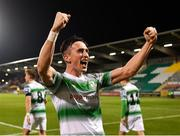 22 February 2019; Aaron McEneff of Shamrock Rovers celebrates after scoring his side's second goal during the SSE Airtricity League Premier Division match between Shamrock Rovers and Derry City at Tallaght Stadium in Dublin. Photo by Seb Daly/Sportsfile