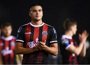 22 February 2019; Ali Reghba of Bohemians acknowledges supporters following the SSE Airtricity League Premier Division match between UCD and Bohemians at the UCD Bowl in Dublin. Photo by Harry Murphy/Sportsfile