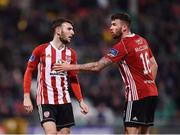 22 February 2019; Jamie McDonagh of Derry City, left, is ushered from the field by team-mate Patrick McClean after being sent off during the SSE Airtricity League Premier Division match between Shamrock Rovers and Derry City at Tallaght Stadium in Dublin. Photo by Seb Daly/Sportsfile
