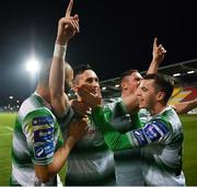 22 February 2019; Aaron McEneff of Shamrock Rovers, centre, celebrates with team-mates Ethan Boyle, left, and Sean Kavanagh, after scoring his side's second goal during the SSE Airtricity League Premier Division match between Shamrock Rovers and Derry City at Tallaght Stadium in Dublin. Photo by Seb Daly/Sportsfile