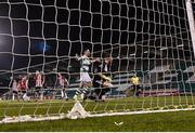 22 February 2019; Aaron McEneff of Shamrock Rovers celebrates after scoring his side's second goal from a penalty during the SSE Airtricity League Premier Division match between Shamrock Rovers and Derry City at Tallaght Stadium in Dublin. Photo by Seb Daly/Sportsfile