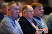 23 February 2019; Dublin GAA officials, from left, John Costello, Dublin GAA Chief Executive, Seán Shanley, Dublin County Board Chairman, and Mick Seavers, Dublin County Board Vice-Chairman during the GAA Annual Congress 2019 at the Clayton Whites Hotel in Ferrybank South, Wexford. Photo by Piaras Ó Mídheach/Sportsfile