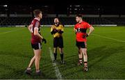 20 February 2019; Referee David Gough performs the coin toss with team captains Stephen McConville of St Mary's and Cian Kiely of UCC before the Electric Ireland HE GAA Sigerson Cup Final match between St Mary's University College Belfast and University College Cork at O'Moore Park in Portlaoise, Laois. Photo by Piaras Ó Mídheach/Sportsfile