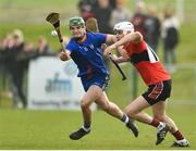23 February 2019; Philip Hickey of Mary Immaculate College in action against Darragh Fitzgibbon of University College Cork during the Electric Ireland HE GAA Fitzgibbon Cup Final match between Mary Immaculate College and University College Cork at Waterford IT in Waterford. Photo by Matt Browne/Sportsfile