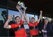 23 February 2019; University College Cork joint captains Eoghan Murphy, left, and Conor Browne lift the Fitzgibbon Cup after the Electric Ireland HE GAA Fitzgibbon Cup Final match between Mary Immaculate College and University College Cork at Waterford IT in Waterford. Photo by Matt Browne/Sportsfile