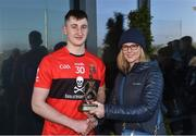23 February 2019; Mark Kehoe is presented with the Man of the Match award by Lynne D'Arcy from Electric Ireland following the Electric Ireland HE GAA Fitzgibbon Cup Final match between Mary Immaculate College and University College Cork at Waterford IT in Waterford. Photo by Matt Browne/Sportsfile