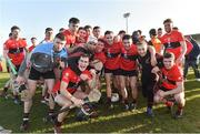 23 February 2019; University College Cork players celebrate after the Electric Ireland HE GAA Fitzgibbon Cup Final match between Mary Immaculate College and University College Cork at Waterford IT in Waterford. Photo by Matt Browne/Sportsfile