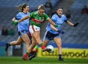 23 February 2019; Fiona Doherty of Mayo under pressure from Olwen Carey of Dublin kicks her side's third goal, in the 20th minute, during the Lidl Ladies NFL Division 1 Round 3 match between Dublin and Mayo at Croke Park in Dublin. Photo by Ray McManus/Sportsfile