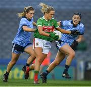 23 February 2019; Fiona Doherty of Mayo races past Martha Byrne, left, and Olwen Carey of Dublin on her way to scoring her side's third goal, in the 20th minute, during the Lidl Ladies NFL Division 1 Round 3 match between Dublin and Mayo at Croke Park in Dublin. Photo by Ray McManus/Sportsfile