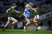 23 February 2019; Nicole Owens of Dublin in action against Danielle Caldwell, right, and Nicola O'Malley of Mayo  during the Lidl Ladies NFL Division 1 Round 3 match between Dublin and Mayo at Croke Park in Dublin.   Photo by Ray McManus/Sportsfile