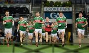 23 February 2019; Mayo captain Keith Higgins leads his side out ahead of the Allianz Football League Division 1 Round 4 match between Dublin and Mayo at Croke Park in Dublin. Photo by Daire Brennan/Sportsfile