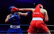 23 February 2019; Cheyanne O'Neill, left, in action against Aoife O'Rourke during their 75kg bout at the 2019 National Elite Men's & Women's Boxing Championships Finalss at the National Stadium in Dublin. Photo by Sam Barnes/Sportsfile
