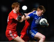 23 February 2019; Ryan McAnespie of Monaghan in action against Peter Harte, left, and Liam Rafferty of Tyrone during the Allianz Football League Division 1 Round 4 match between Tyrone and Monaghan at Healy Park in Omagh, Co Tyrone. Photo by Stephen McCarthy/Sportsfile