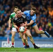 23 February 2019; Rob Hennelly of Mayo in action against Paul Mannion of Dublin during the Allianz Football League Division 1 Round 4 match between Dublin and Mayo at Croke Park in Dublin. Photo by Daire Brennan/Sportsfile
