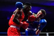 23 February 2019; Patryk Adamus, right, in action against Christian Cekiso during their 57kg bout at the 2019 National Elite Men's & Women's Boxing Championships Finals at the National Stadium in Dublin. Photo by Sam Barnes/Sportsfile