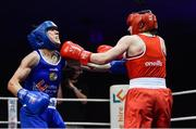 23 February 2019;  Michaela Walsh, right, in action against Dearbhla Duffy during their 57kg bout at the 2019 National Elite Men's & Women's Boxing Championships Finals at the National Stadium in Dublin. Photo by Sam Barnes/Sportsfile