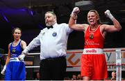 23 February 2019; Michaela Walsh, celebrates after being announced as the winner against Dearbhla Duffy following their 57kg bout at the 2019 National Elite Men's & Women's Boxing Championships Finals at the National Stadium in Dublin. Photo by Sam Barnes/Sportsfile