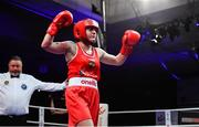 23 February 2019; Michaela Walsh, celebrates following her 57kg bout at the 2019 National Elite Men's & Women's Boxing Championships Finals at the National Stadium in Dublin. Photo by Sam Barnes/Sportsfile