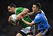 23 February 2019; Keith Higgins of Mayo in action against Cormac Costello of Dublin during the Allianz Football League Division 1 Round 4 match between Dublin and Mayo at Croke Park in Dublin. Photo by Ray McManus/Sportsfile