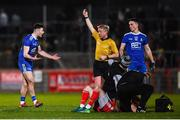 23 February 2019; Dessie Ward of Monaghan receives a black card from referee Ciaran Branagan for a tackle on Ronan McNamee of Tyrone during the Allianz Football League Division 1 Round 4 match between Tyrone and Monaghan at Healy Park in Omagh, Co Tyrone. Photo by Stephen McCarthy/Sportsfile