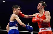 23 February 2019; Evan Metcalf, left, in action against Adam Hession during their 52kg bout at the 2019 National Elite Men's & Women's Boxing Championships Finals at the National Stadium in Dublin. Photo by Sam Barnes/Sportsfile