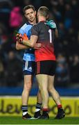 23 February 2019; Dean Rock of Dublin and Rob Hennelly of Mayo after the Allianz Football League Division 1 Round 4 match between Dublin and Mayo at Croke Park in Dublin. Photo by Ray McManus/Sportsfile