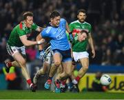 23 February 2019; Con O'Callaghan of Dublinis tackled by Donal Vaughan, left, and Colm Boyle of Mayo late in the game during the Allianz Football League Division 1 Round 4 match between Dublin and Mayo at Croke Park in Dublin. Photo by Ray McManus/Sportsfile