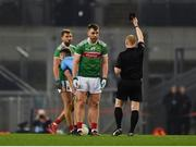 23 February 2019; Referee Barry Cassidy shows Séamus O'Shea of Mayo a black card during the Allianz Football League Division 1 Round 4 match between Dublin and Mayo at Croke Park in Dublin. Photo by Daire Brennan/Sportsfile