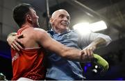 23 February 2019; Kieran Molloy, left, celebrates with his father and coach Stephen Molloy, after winning his 69kg bout at the 2019 National Elite Men's & Women's Boxing Championships Finals at the National Stadium in Dublin. Photo by Sam Barnes/Sportsfile