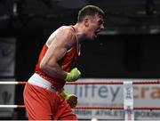 23 February 2019; Kieran Molloy, left, celebrates after winning his 69kg bout at the 2019 National Elite Men's & Women's Boxing Championships Finals at the National Stadium in Dublin. Photo by Sam Barnes/Sportsfile